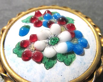 Encrusted Enamel Brooch ANTIQUE Pin Flowers One (1) Brooch Glass Dots Encrusted Enamel Flowers Poured Glass Dots Antique Jewelry (J26)