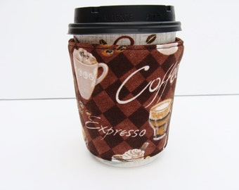 Coffee Cozy Coffee Cup Sleeve Reusable Java Jacket made with Brown Coffee Fabric