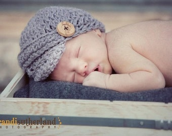 Gray Newsboy Baby Hat with Buttons - Crochet Baby Hat - Newborn Boy Hat - Newborn Photo Prop - Newborn Photography Props - Amber Michelle