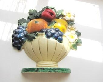 Vintage Cast Iron Doorstop John Wright Flower Basket Fruit Original Paint Door Stop from AllieEtCie