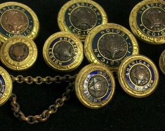 American Legion Uniform Buttons Vintage Brass and Blue Enamel W.B. Co Buttons 1919