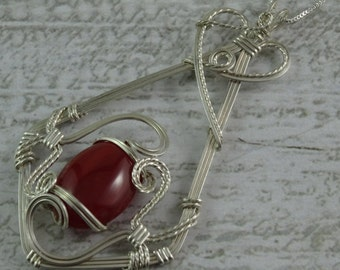 Carnelian Sterling Silver Wire Sculpted Pendant on Chain