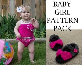 Baby Girl Summer Crochet Pattern Pack- PDF