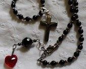 Black and Silver Cross Religious Necklace