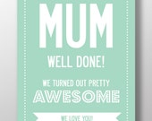 Mother's Day Personalized MUM Text And Name Print. A3 luxury poster print.