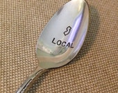 New Item Vintage Silverware Silver Plate STATE IT Local Native Teaspoon Hand Stamped