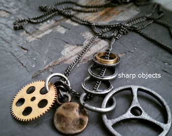 Gear - mens, unisex industrial steampunk mixed metalwork sprocket & ring layered necklace