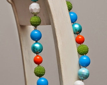 Green, Blue and Orange M2M Chunky Necklace,