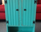 Turquoise Primitive Wall Cabinet