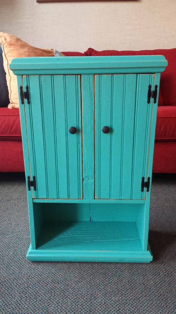 teal primitive wall cabinet by thefallbasket on etsy
