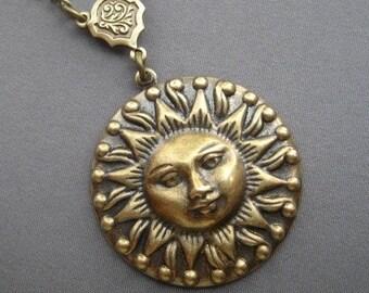 Sun Pendant - Sun Necklace - Sun Jewelry - Sunshine Jewelry - Celestial Necklace - Sun Face - Celestial Jewelry - Vintage Sun Medallion