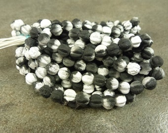 Etched Matte Black and Silver Czech Glass Melons 6mm 25pc Jet