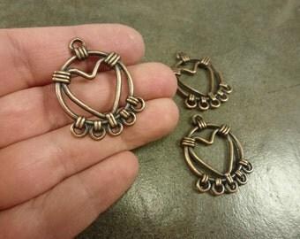 4pc. Heart Chandelier Drop 35x25mm Antiqued Copper Charm Pendant Heavy