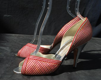 Vintage 70's shoes DISCO silver and red rightg bank Co shoes pumps open toe high heels size 37 1/2 usa 7 by thekaliman