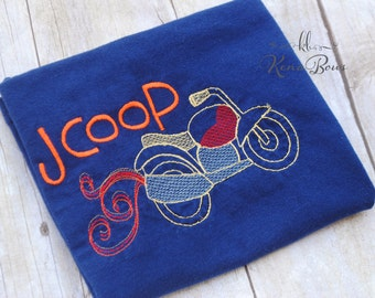 Motorcycle Personalized Embroidered Shirt, Boy First Birthday Shirt, Navy Blue Motorcycle Toddler Shirt