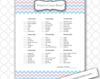 What's in Your Purse Baby Shower Game, pink and blue chevron, instant download, boy and girl twins or gender reveal, wait and see