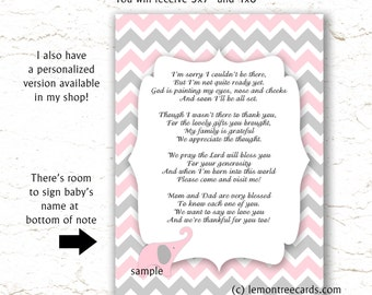 Pink Elephant Baby Shower Thank You Poem Notes, INSTANT Download, Girl Baby  Shower Thank