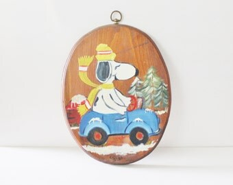 Vintage 80s Hand Painted Snoopy Christmas Wall Hanging - Rustic - Wood