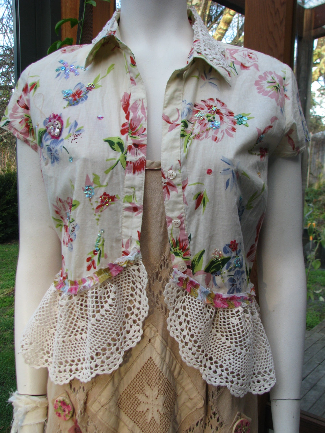 boho blouse altered couture shabby chic upcycled clothing. Black Bedroom Furniture Sets. Home Design Ideas