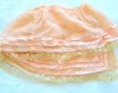 Antique peach 1920s flapper silk damask ribbon ruffle lace flounce dolls trim edging
