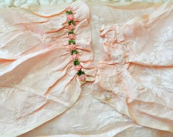 Antique pastel pink damask ribbon sash belt with ribbon rosettes trim ribbon work