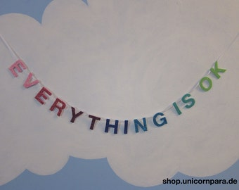 "Pink/Purple/Blue/Green Gradient ""Everything Is Ok"" Mini Glitter Banner"