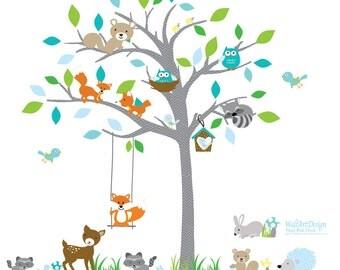 Children Wall decals, Nursery Wall Decals, Tree Wall Decals, Baby Wall Decals, Vinyl Wall Decals, Tree Decals,Owl Tree Decals
