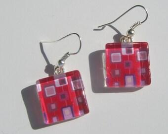 Pink Earrings, Glass Dangle Earrings, Bright Pink Earrings, Summer Earrings, Retro Earrings, Mid Century Modern Print Earrings