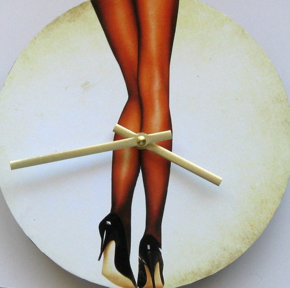 Wall clock. Clock for men. Women's legs. Fun clock. Body anatomy.
