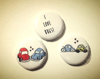 I Love Bugs, VW Volkswaggon Doodle Magnets or pin back button, made on recycled paper, brooch
