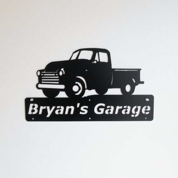 Personalized Man Cave Classic Chevrolet Truck Garage Sign Satin Black