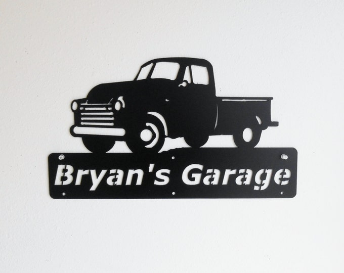 1948 - 1953 Chevrolet Truck Personalized Man Cave Classic Garage Sign Satin Black