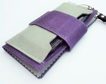Cell Phone Wallet, Hand-Waxed Canvas, Wool Felt, Eggplant and Gray