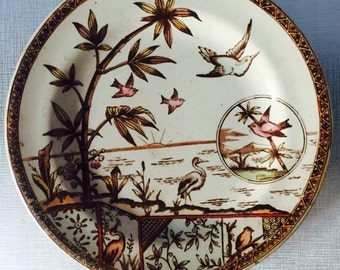 Vintage Transfer Ware China Tonquin E.M. & Co.  Brown 8 inch Plate Aesthetic Movement England 1860s