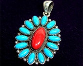 NAVAJO Handmade Pendant FLOWER Design in STERLING with Turquoise and Coral