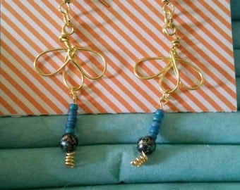 Gold and teal dangle earrings