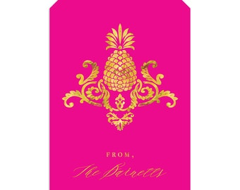 Personalized Gift Tag, Letterpress Foil Printed Set of Gift Tags, Pineapple Pretty Gift Tag for Gifts, Holidays, Weddings and More