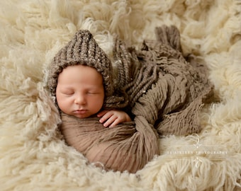 Chunky Barley Brown Knit Baby Bonnet Newborn Photography Prop
