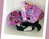 Purple Floral/Lilac Minky Dot and Roses Infant Baby Car Seat Cover with Bling Flower-Ready To Ship