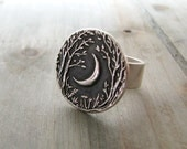Moon Ring, Forest Moon, Fine Silver Ring, Handmade with Recycled Silver, Original Design by SilverWishes