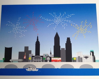 Cleveland Skyline PRINT with fireworks, Tower City, Progressive Field, trolley