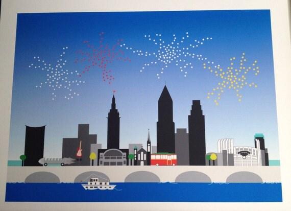Cleveland Skyline print