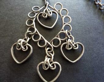 Vintage Silver Hanging Heart Pendant Necklace
