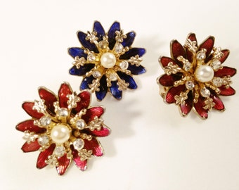 Coro Brooches, Vintage Jewelry Set of Floral Pins, Scatter Pins, Vintage Brooches, Red & Blue Flower Brooches, Faux Pearl Rhinestone Brooch