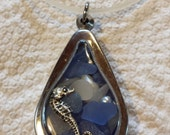 Custom Order for Claudia!  Sea Glass Locket in Blues with Sea Horse on White Cord Necklace