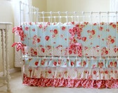 Shabby Chic Baby Girl Bedding Set with Vintage Inspired Lace Ruffle Skirt in Lulu Roses Patterns for Unique, Handmade Custom Nursery
