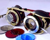 Steampunk goggle with IRIS APERTURE and magnifier Brass LARP Black