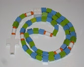 Children's Rosary made with LEGO® Bricks Green and Blue