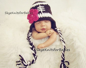 Crocheted Baby Football Hat With Removable Flower, Newborn Football Hat, Newborn Photography Prop, Baby Girl Football Hat