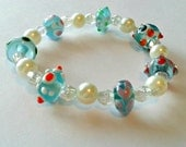 Blown Glass Beaded Stretch Bracelet - Beaded Light Blue Multicolored Summer Jewelry Gift